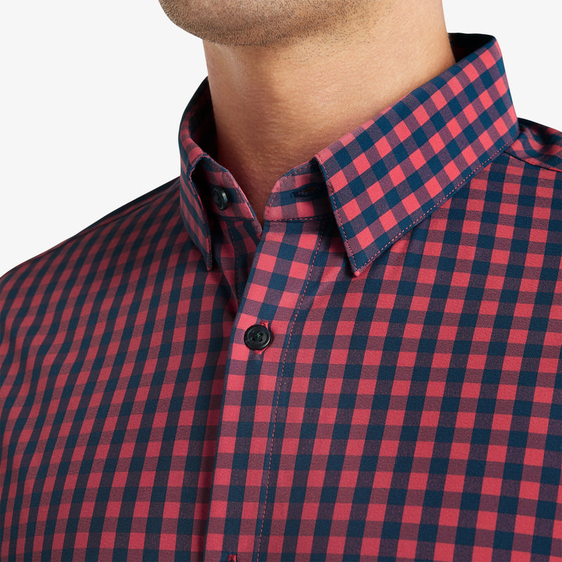 Leeward Dress Shirt - Red Navy Gingham, lifestyle/model