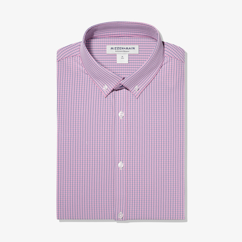 Leeward Dress Shirt - Red Navy Mini Check, featured product shot