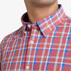 Leeward Dress Shirt - Red Blue Pink Multi Plaid, lifestyle/model photo