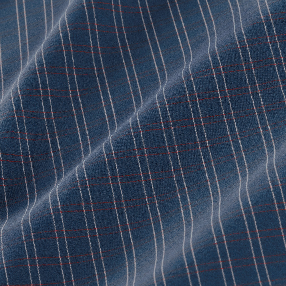 Locke - Navy Red Grid Check, fabric swatch closeup