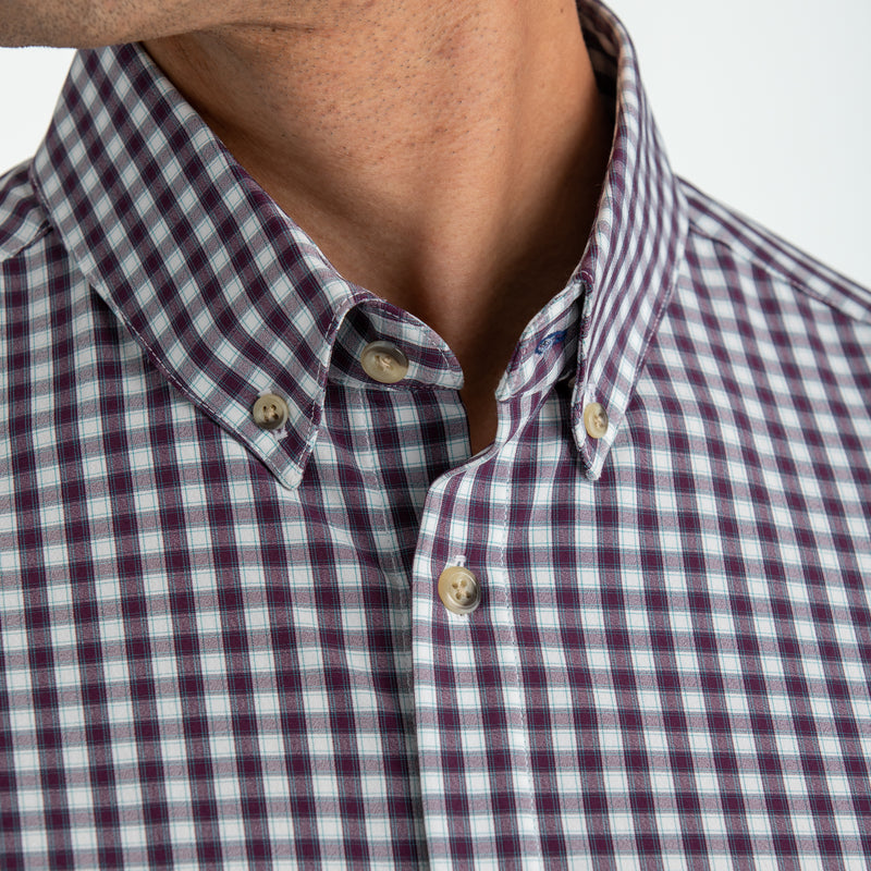 Leeward Dress Shirt - Purple Green Check, lifestyle/model