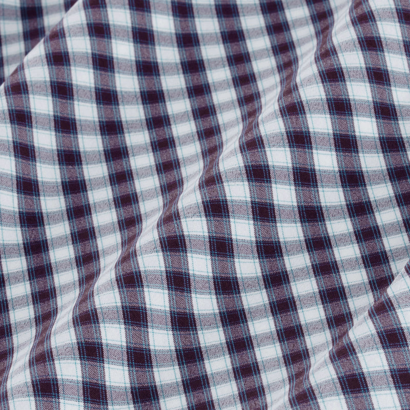 Leeward Dress Shirt - Purple Green Check, fabric swatch closeup