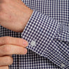 Leeward Dress Shirt - Navy White Mini Gingham, lifestyle/model photo