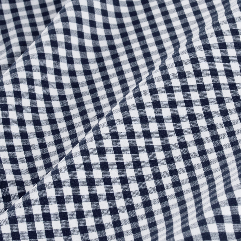 Leeward - Navy White Mini Gingham, fabric swatch closeup