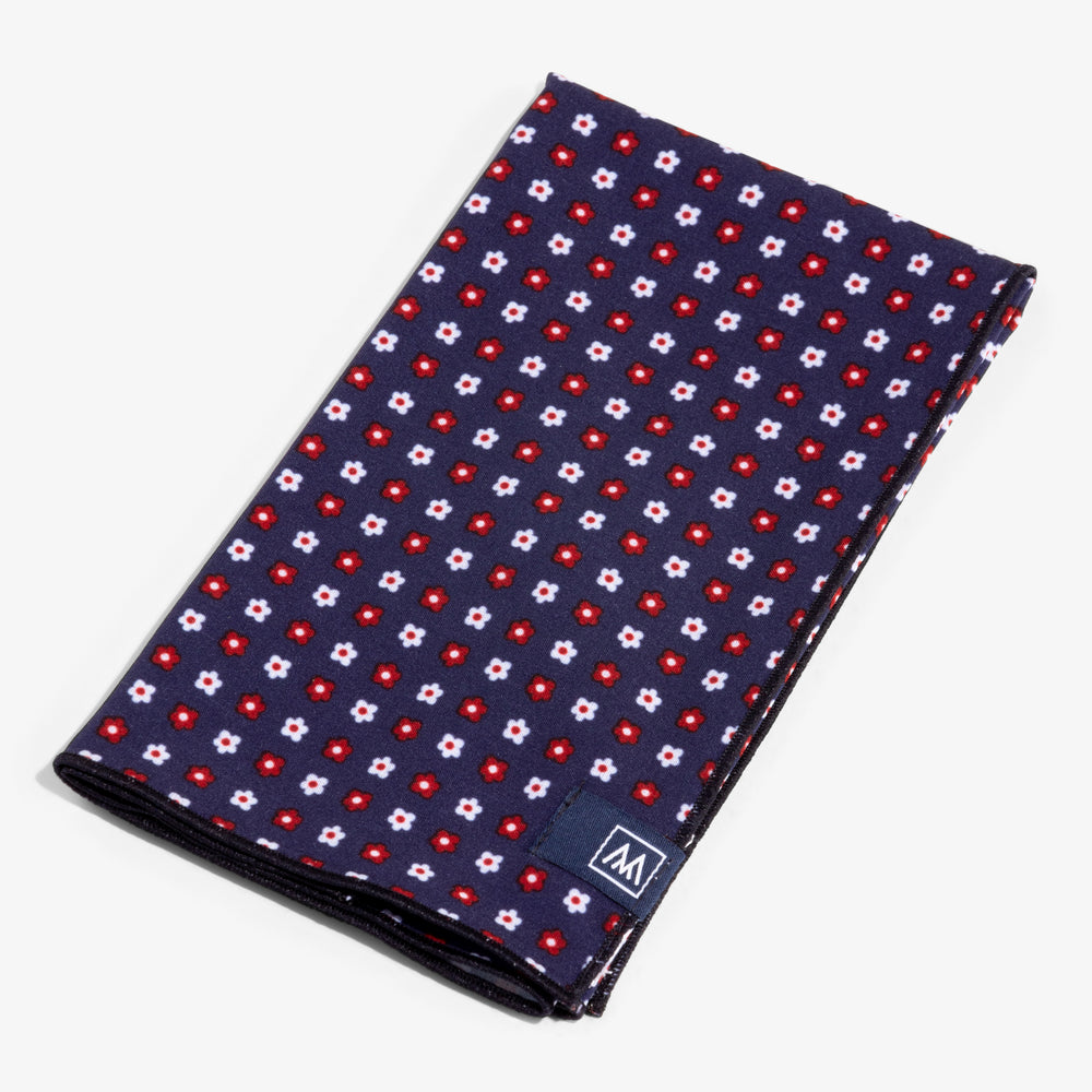 Pocket Square - Navy Red Floral Print, featured product shot