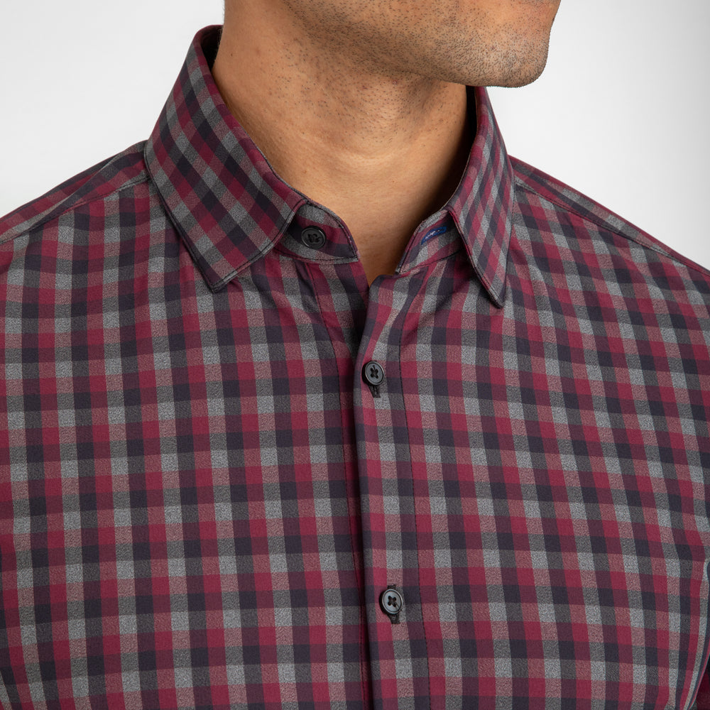 Plainview - Maroon Grey Black Check, lifestyle/model photo
