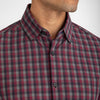 Leeward Dress Shirt - Maroon Gray Check, lifestyle/model photo