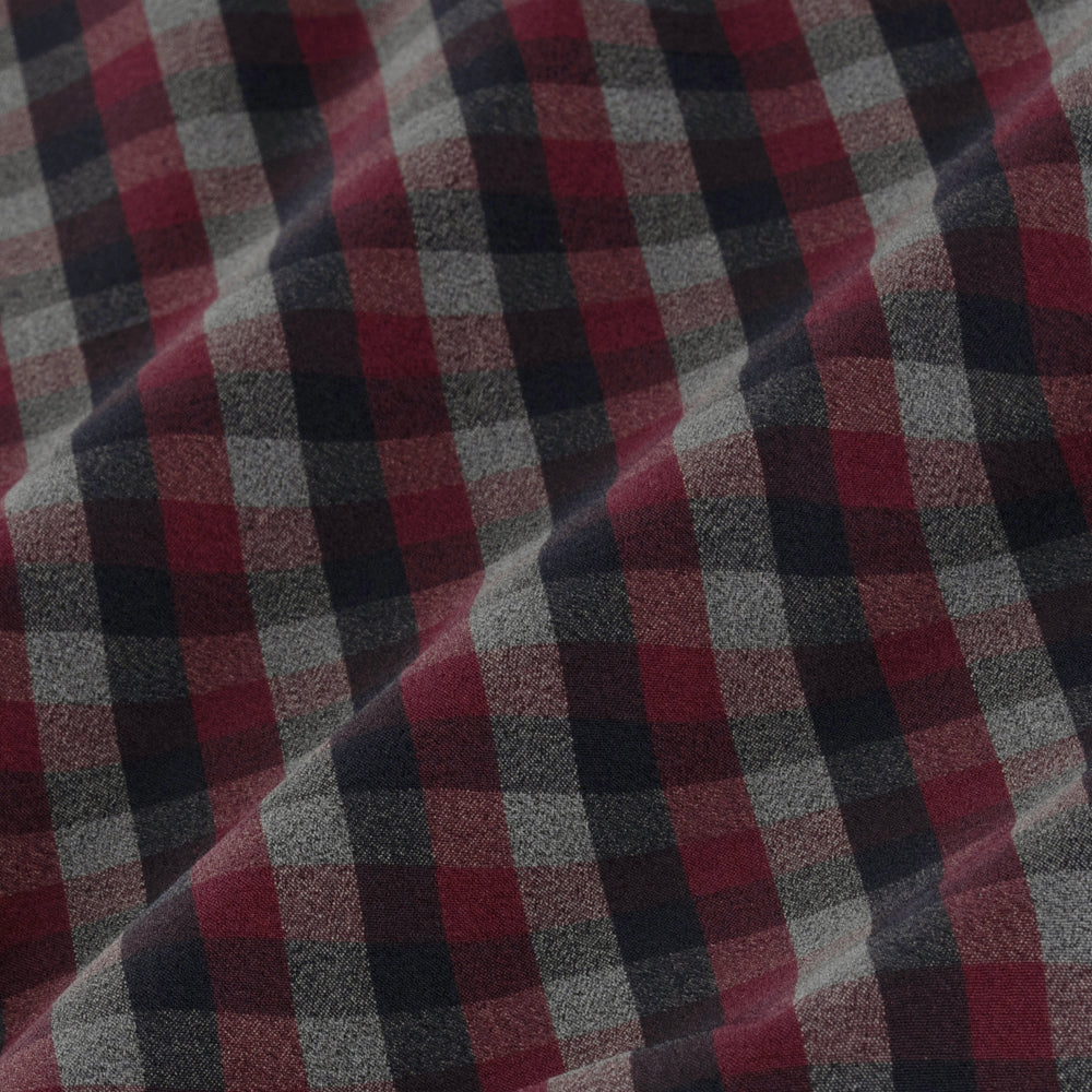 Leeward - Maroon Gray Check, fabric swatch closeup