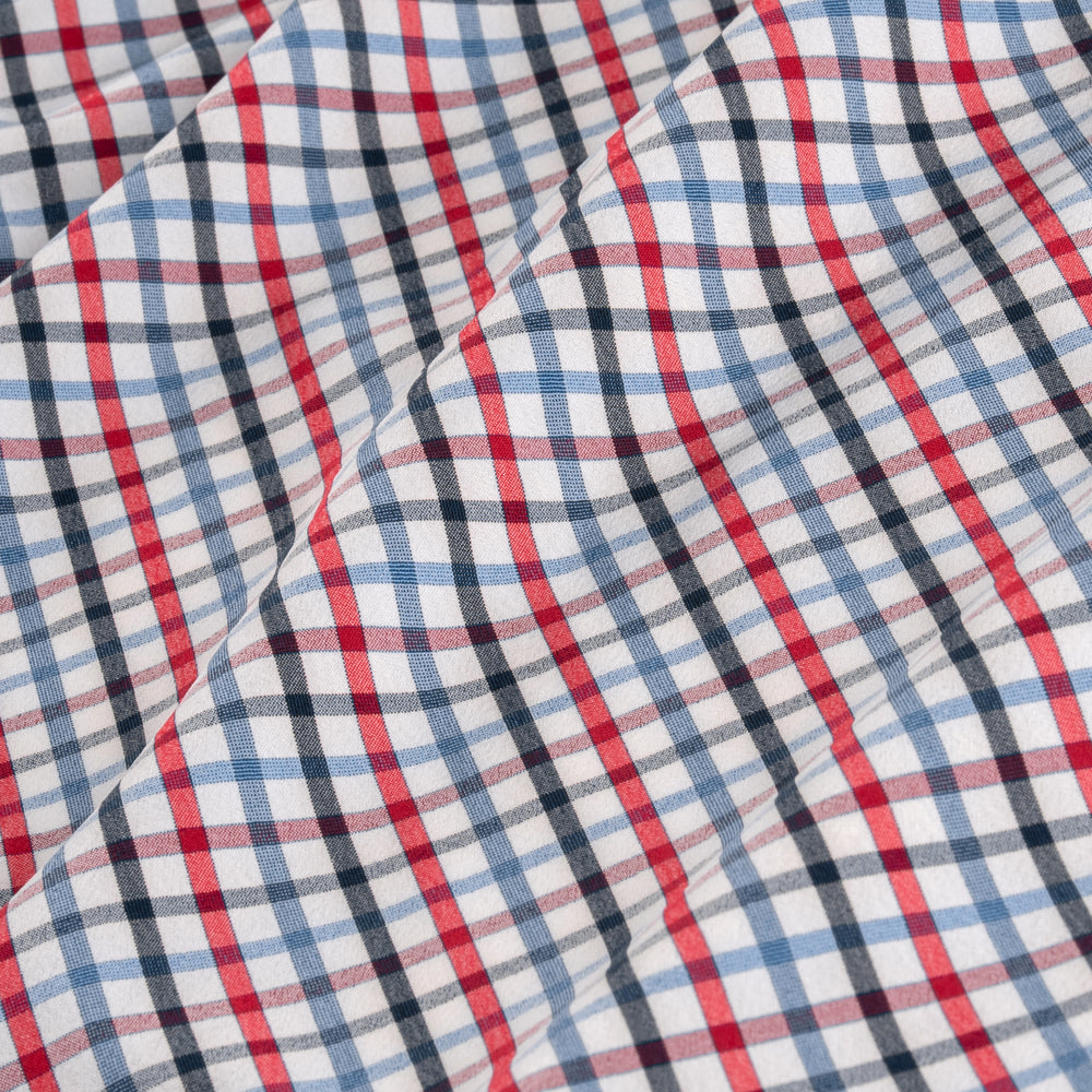 Leeward - Blue Red Multi Check, fabric swatch closeup