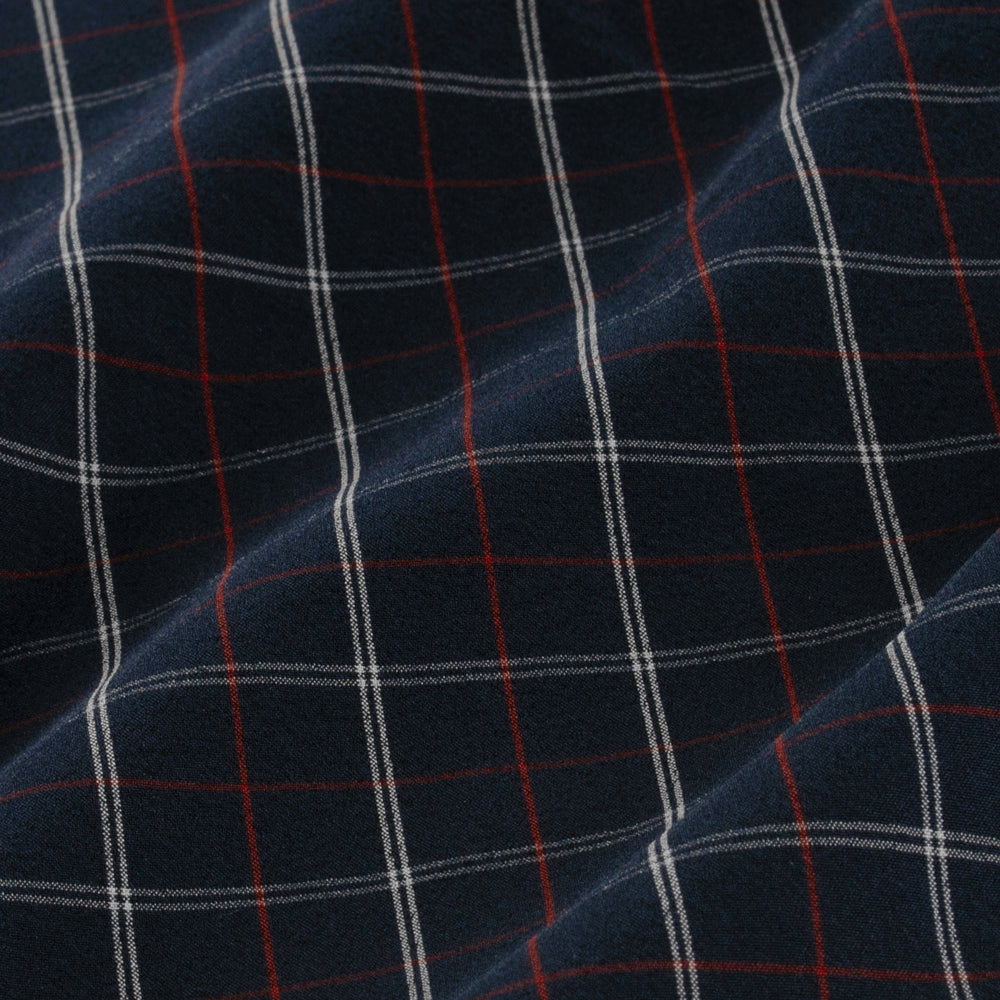 Leeward - Navy Red Multi Check, fabric swatch closeup