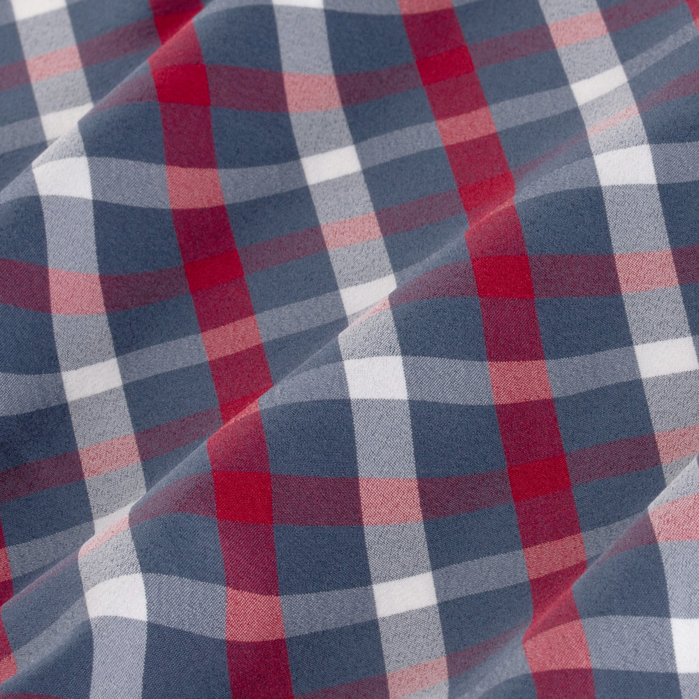 Leeward - Red Navy Check, fabric swatch closeup