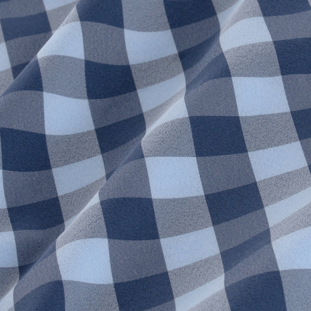 Leeward - Blue Check, fabric swatch closeup