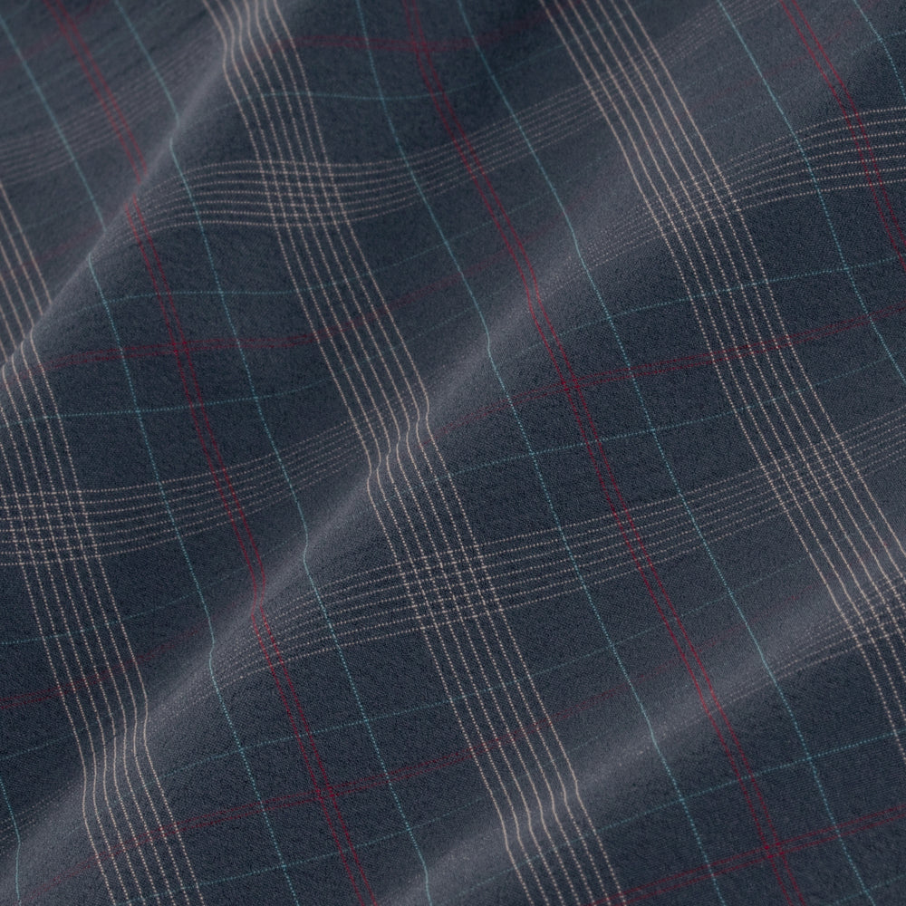 Leeward - Navy Multi Plaid, fabric swatch closeup