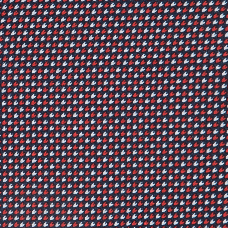 Leeward - Navy Red and White Arrow Print, fabric swatch closeup