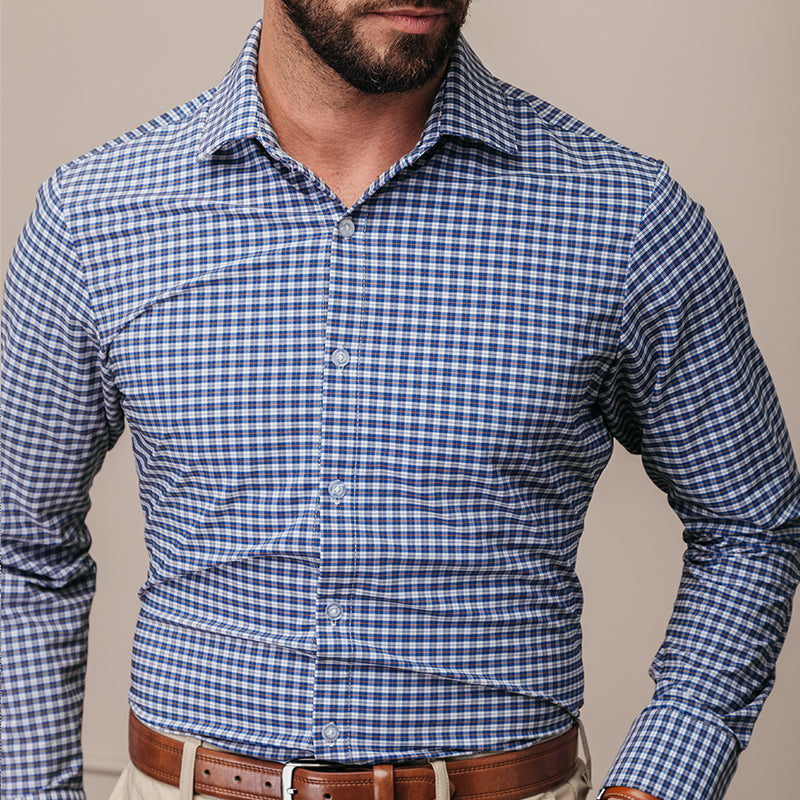 Howe 2.0 - Blue Multi Plaid, lifestyle/model photo