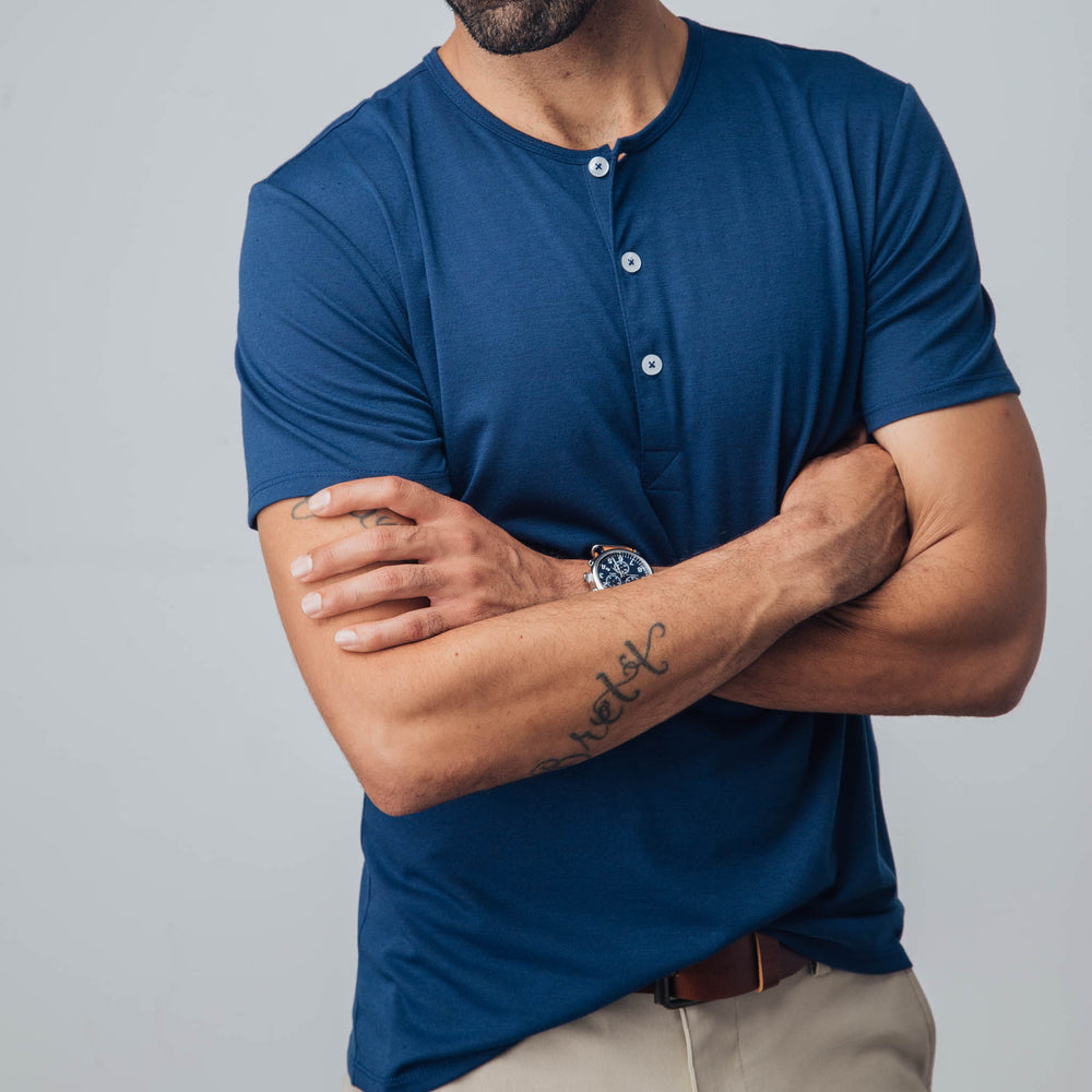 Tigua - Navy Short Sleeve Henley, lifestyle/model photo