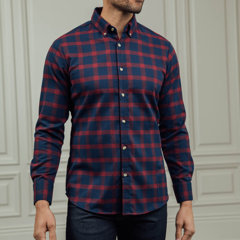 Tonto - Navy Burgundy Check Flannel, lifestyle/model photo
