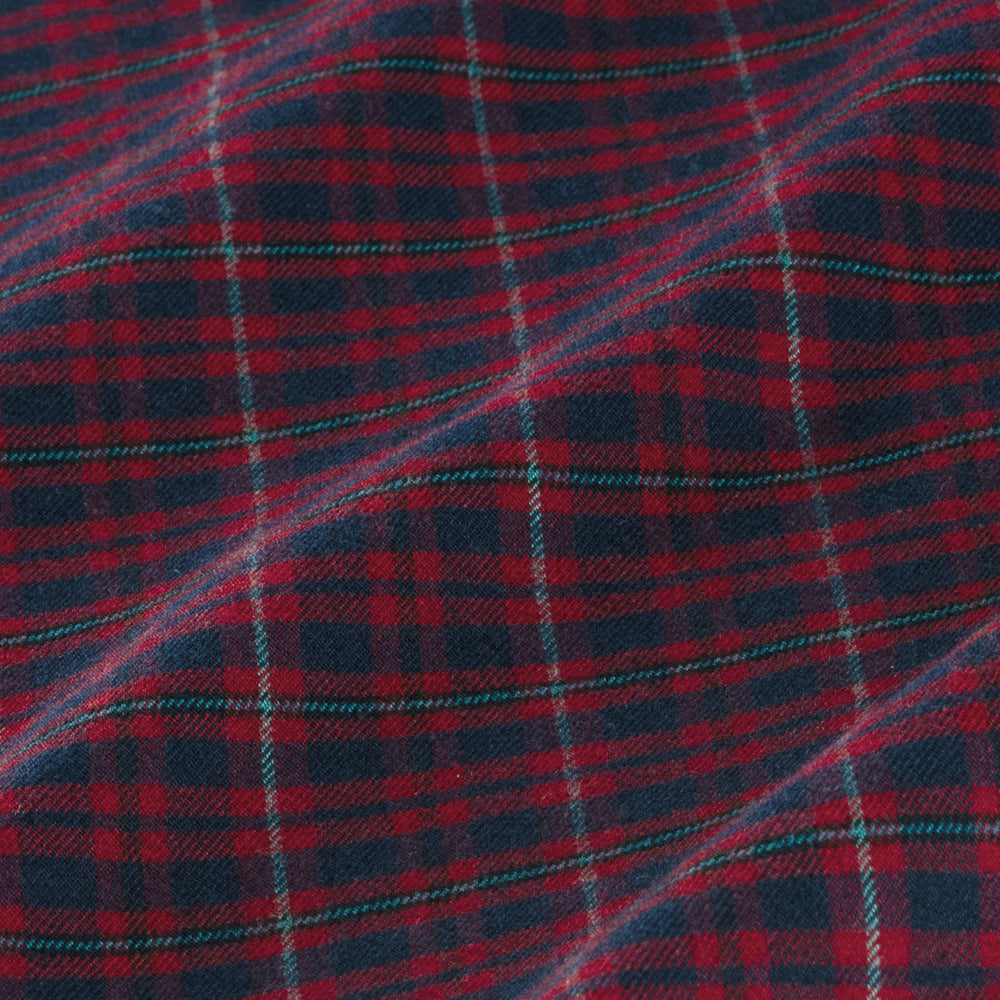 Wallace - Red Navy Plaid, fabric swatch closeup