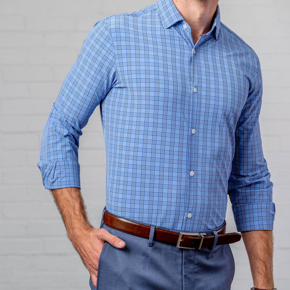 Leeward Dress Shirt - Light Blue Multi Check, lifestyle/model photo