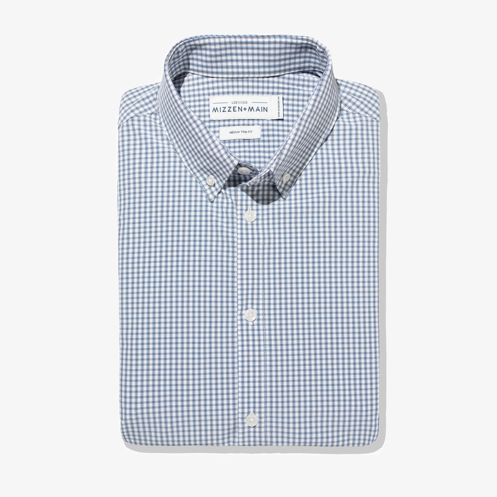 Leeward - White Blue Mini Check, featured product shot