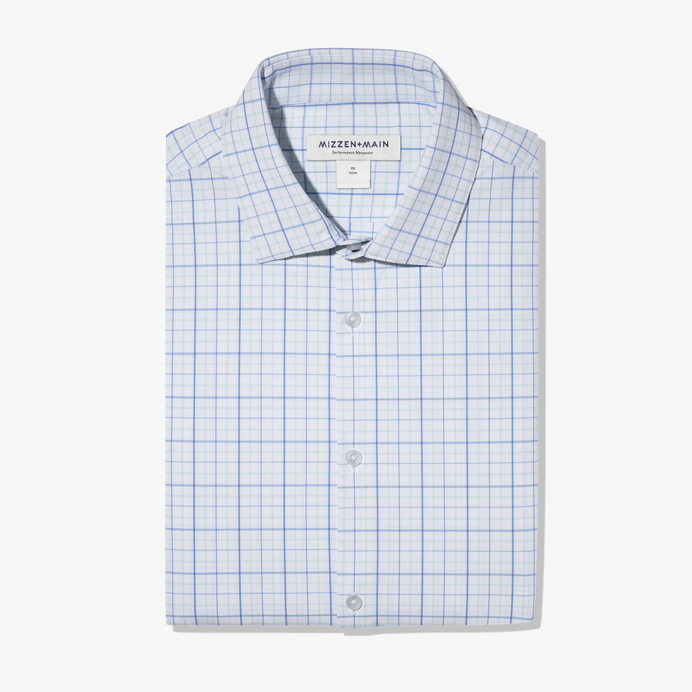 Leeward Dress Shirt - Aqua Blue Tattersall, featured product shot