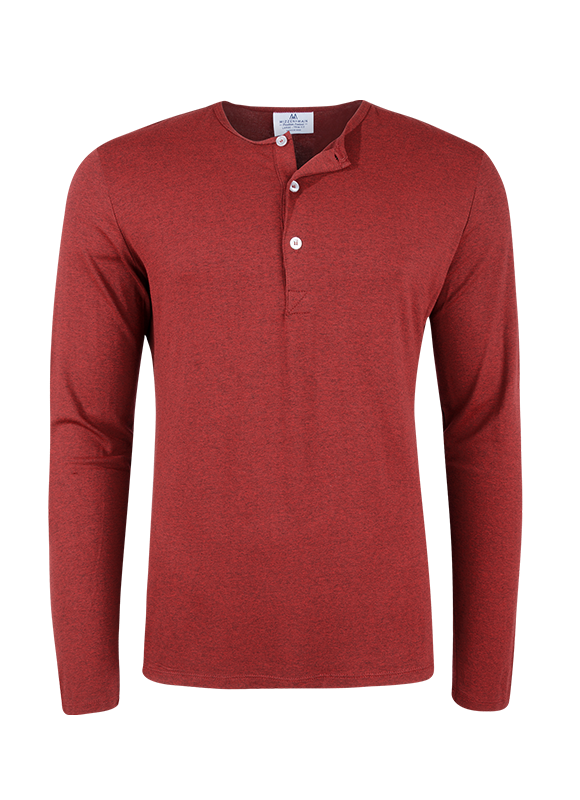 """Osage"" Red Heather Performance Henley"