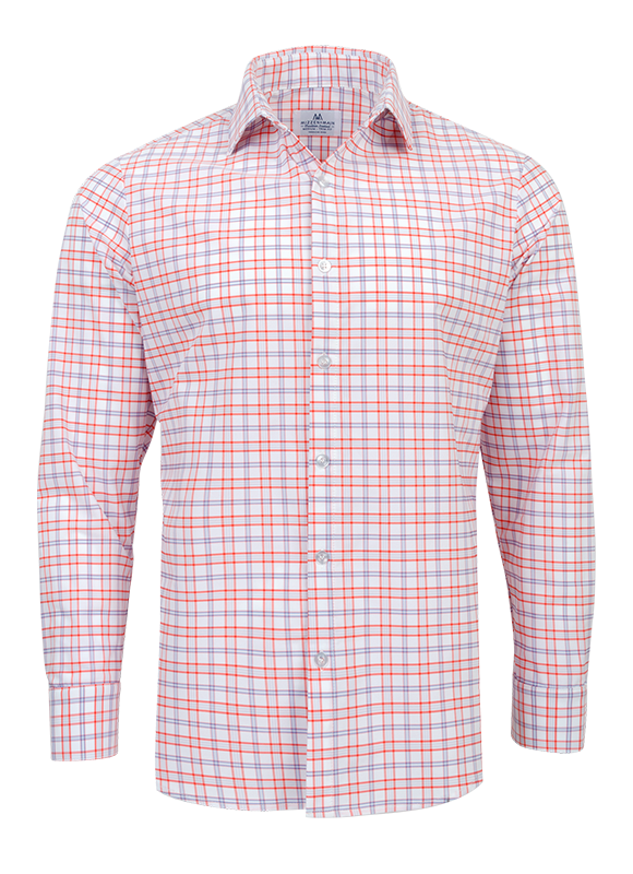 """Sawgrass"" Red/Orange and Purple Check Performance Dress Shirt"