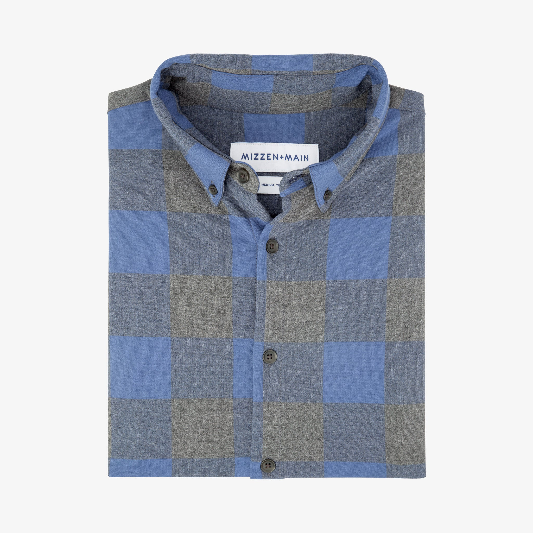 Blue and Gray Large Check Flannel