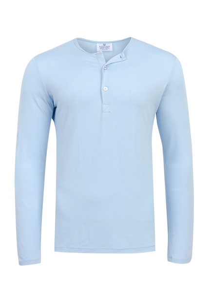"""Sioux"" Light Blue Performance Henley"