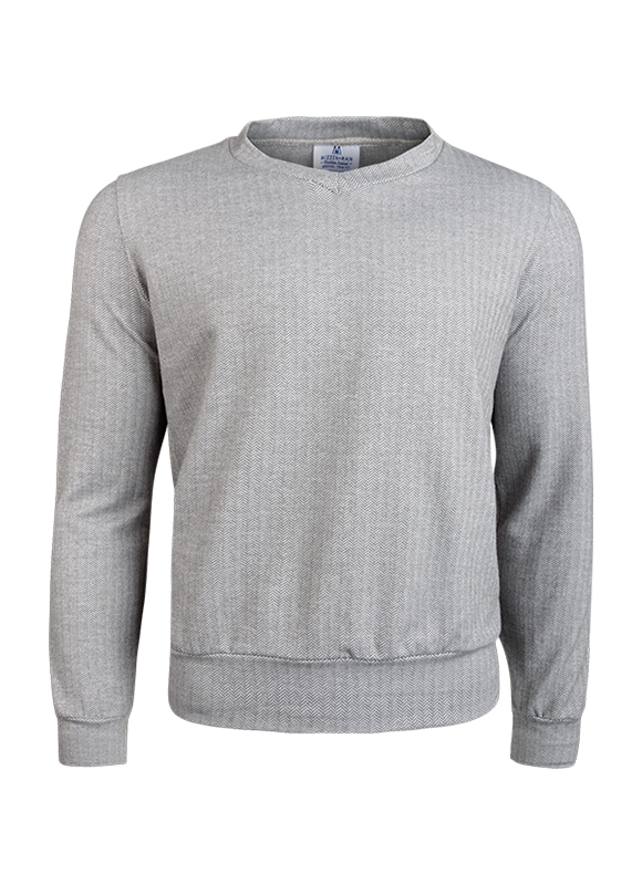 """Fairbanks"" Grey Herringbone Performance Sweater"