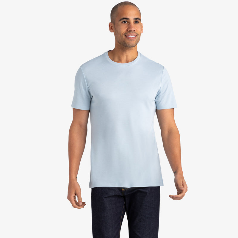 Upton Luxe Tee - Light Blue Solid, lifestyle/model