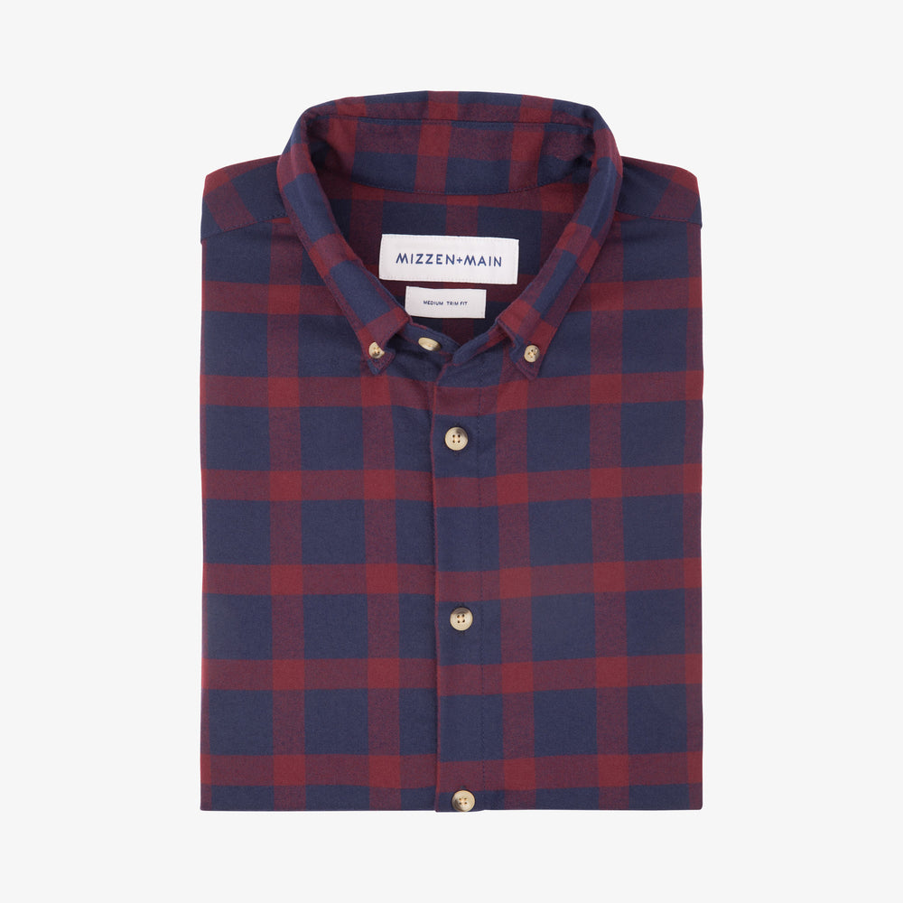 Tonto - Navy Burgundy Check Flannel, featured product shot