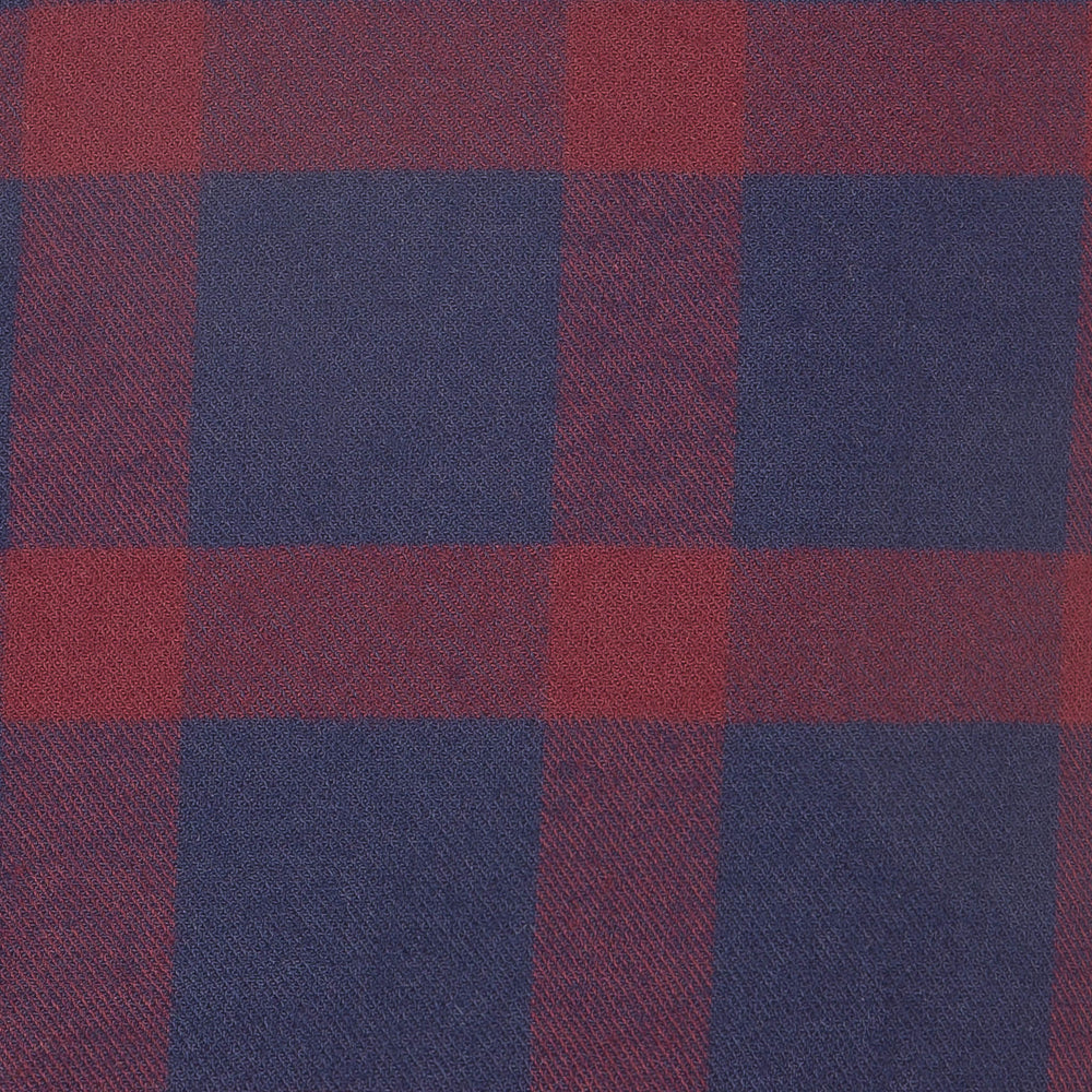Tonto - Navy Burgundy Check Flannel, fabric swatch closeup