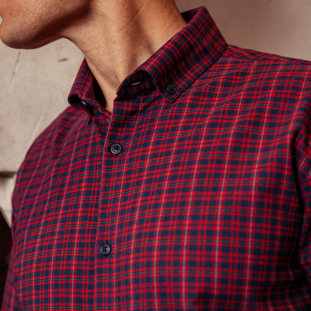 Wallace - Red Navy Plaid, lifestyle/model photo