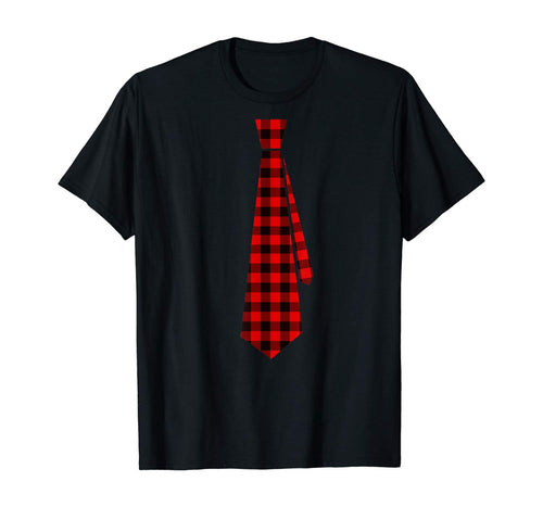 Christmas Gift for Men Dad Family Buffalo Plaid Check Tie T-Shirt
