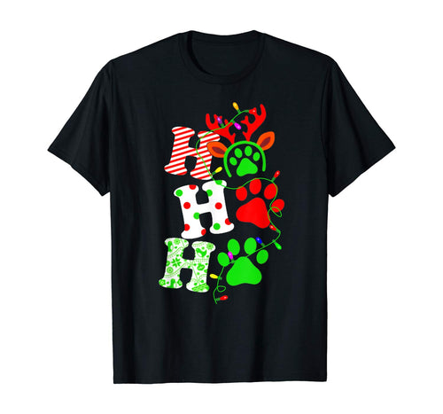 Paw Dog Hohoho Christmas Funny Costume Merry Xmas Lovely T-Shirt