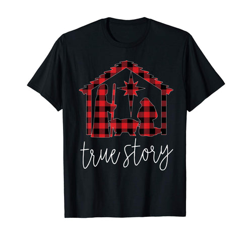 True Story Christmas Manger Nativity Scene Buffalo Plaid T-Shirt