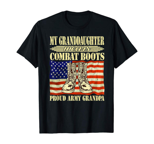 Mens My Granddaughter Wears Combat Boots Proud Army Grandpa Gift T-Shirt