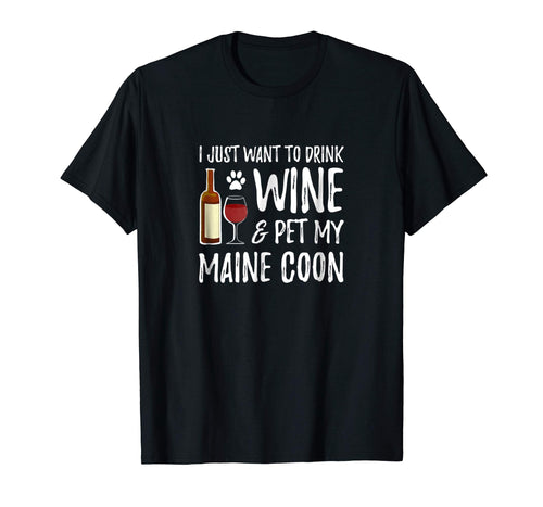 Wine and Maine Coon Shirt Funny Cat Mom or Cat Dad Gift Idea