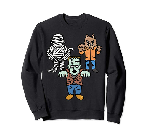 Retro Monsters Halloween Frankenstein Monster Mummy Werewolf Sweatshirt