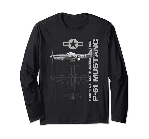 P-51 Mustang WWII Fighter Airplane Profile Long Sleeve T-Shirt