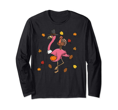 Funny Thanksgiving Pilgrim Flamingo With Turkey Cute Long Sleeve T-Shirt