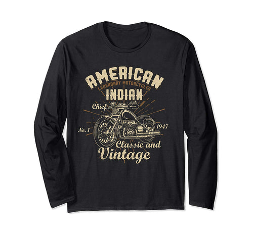 Retro Vintage American Motorcycle Indian for Old Biker Gifts Long Sleeve T-Shirt