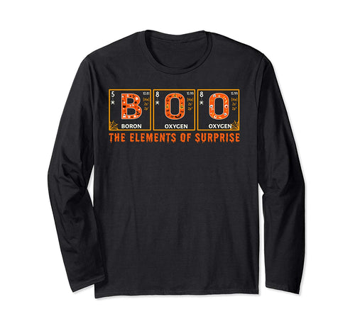 Halloween BOO Primary Elements of Surprise Science  Long Sleeve T-Shirt