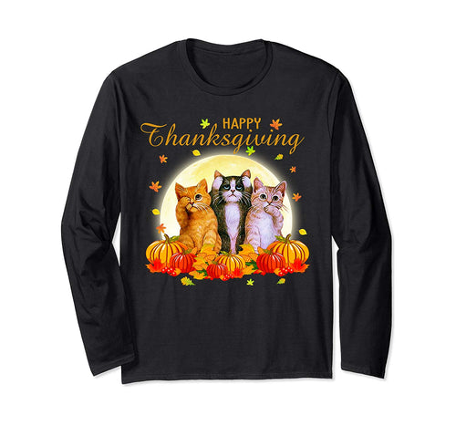 Happy Thanksgiving Day Cat Gift For Cat Lovers Funny Turkey Long Sleeve T-Shirt