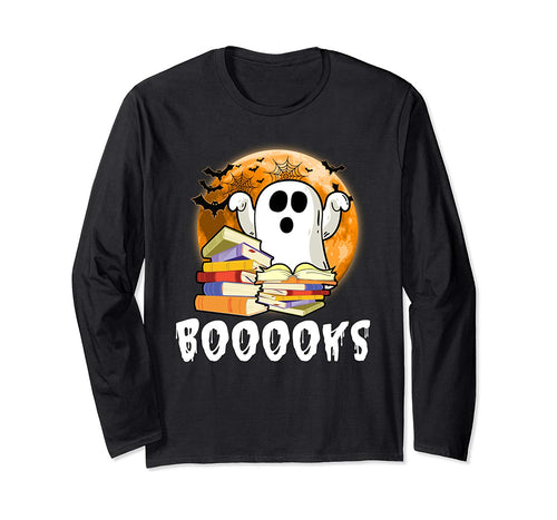 Booooks! Adorable Ghost Reading Books Halloween Long Sleeve T-Shirt