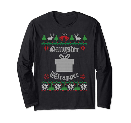 Gangster Wrapper Funny Christmas Graphic Long Sleeve T Shirt