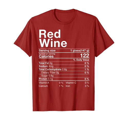 Red Wine Nutritional Fact Thanksgiving Drinking Christmas T-Shirt