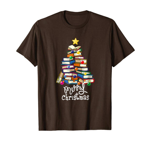 Merry Christmas Tree Shirt Love reading books Librarian nerd