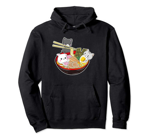 Kawaii Japanese Anime Cat Hoodie Bowl Ramen Noodle Gift Top